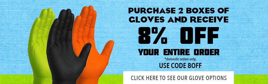 8% off when you purchase 2 boxes of gloves