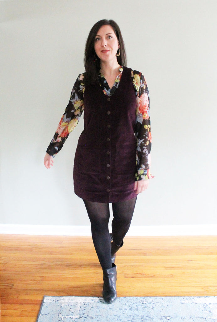 Corduroy Pinafore for Fall: A Hana Dress Pattern Hack!