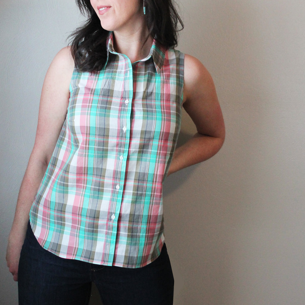 Pattern Hack: A sleeveless Byrdie Button-up