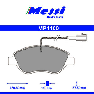 Messi Front BrakePad-alfa romeo  2009- 1.4 MULTIAIR - MP1160