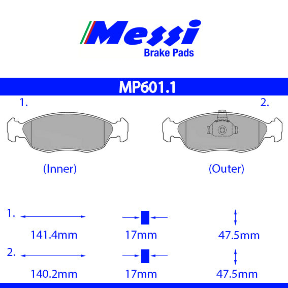 Messi Front BrakePad-citroen 1997-2000 1.6 - MP601.1