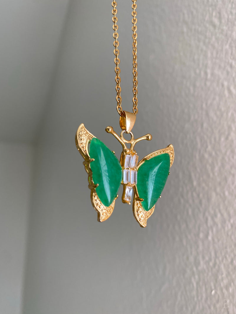 Large Jade Butterfly Necklace