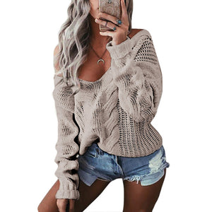 V-Neck Twist Knitted Sweaters