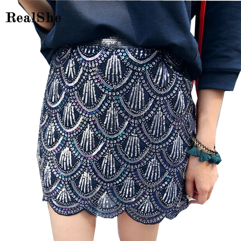 Peacock Feather Sequins Mini Skirt