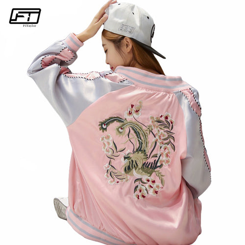 Embroidery Flower Bomber Jacket