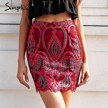 Sequin mesh embroidery pencil skirt