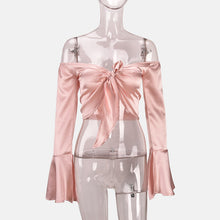 off shoulder silk satin tie up bow crop top