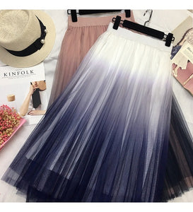 Gradient Color Tulle Skirt