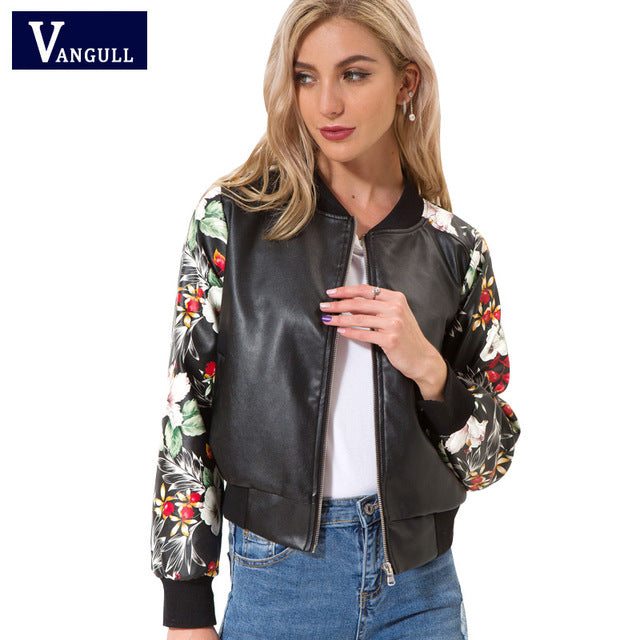 PU leather flower sleeve Jacket