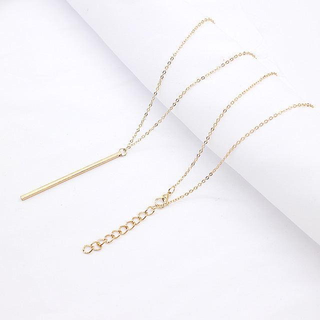 Simple Classic fashion Stick Pendant Necklace