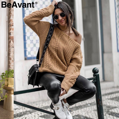 Casual cold shoulder khaki pullover