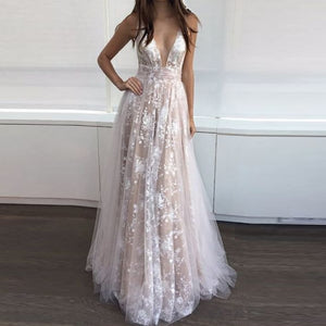 Deep V Neck Lace Maxi Dress