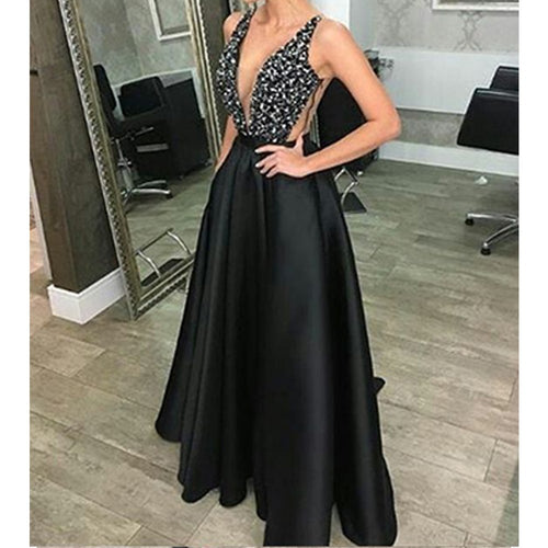 Sexy V neck Sleeveless Sequin Dress