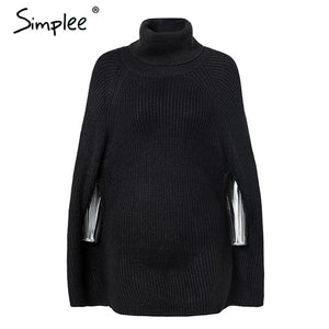 Knitted turtleneck cloak sweater