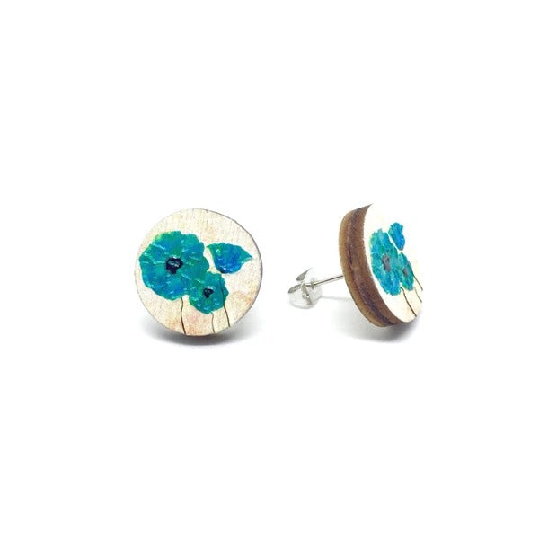Vintage Flowers Wooden Earrings