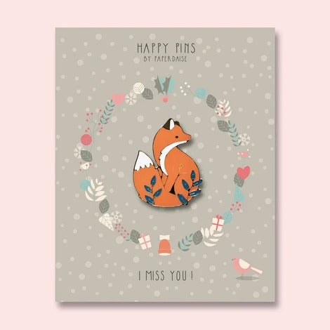 I Miss You Autumn Fox Enamel Pin