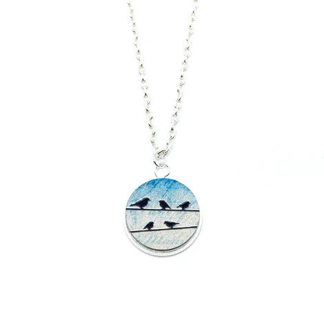 Birds On Power Line Wood Pendant Necklace