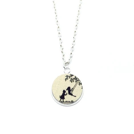 Girls Playing On Swing Wood Pendant Necklace