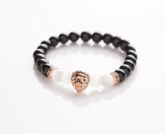 Black White Natural Stone Obsidian Moonstone with Rose Gold Lion Head Beads Braclet