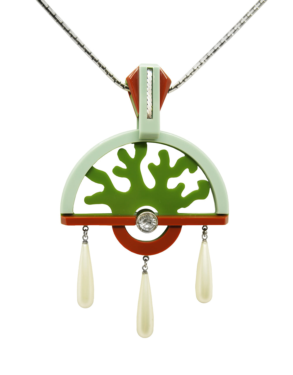 Handmade Acrylic Necklace Fan Green