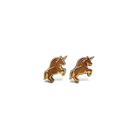 Magical Unicorn Laser Cut Wood Earrings