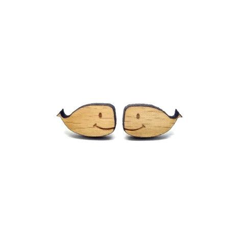 Cute Baby Whale Laser Cut Wood Earrings