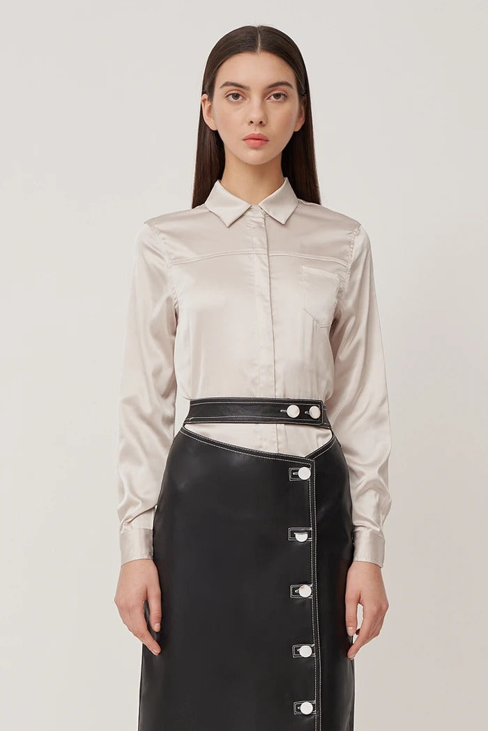 Caylee Panelled Shirt Blouse