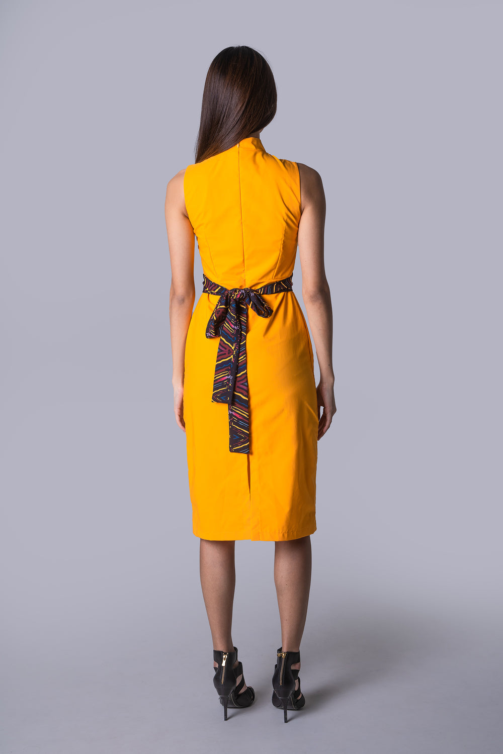 Mandarin Collar Sheath Dress with Sash