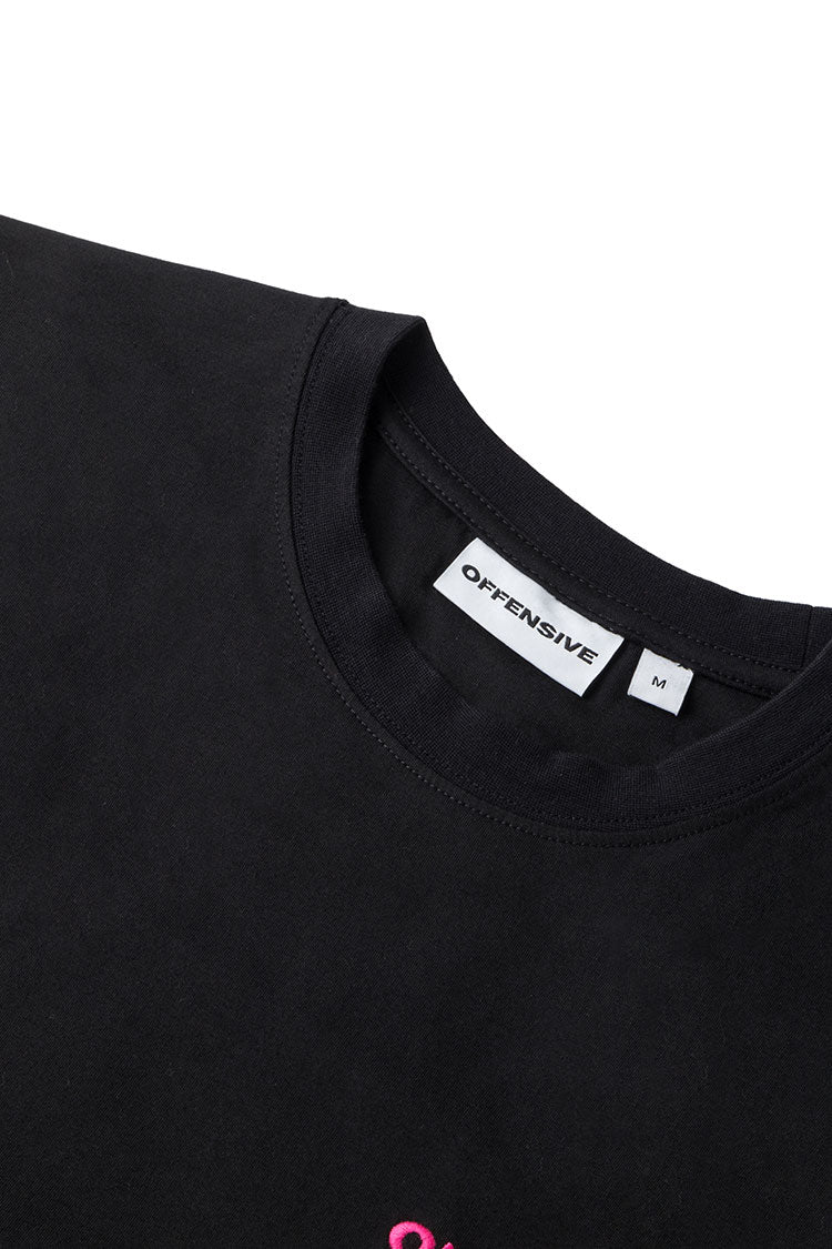 Embroidered T-Shirt (Black w. Pink Embroidery)