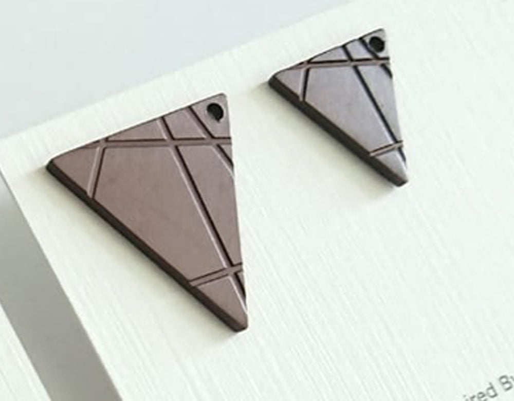 Line Patt Earrings Tri (matt brown)