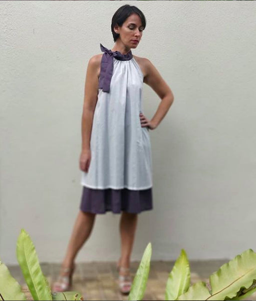 The Lily Dress (White and Lavender grey)