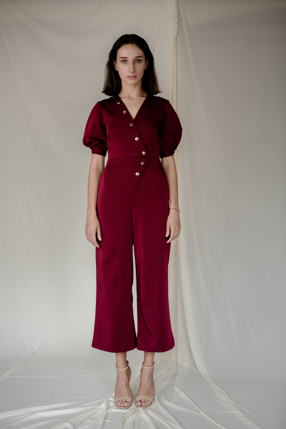 Stud Jumpsuit in Red