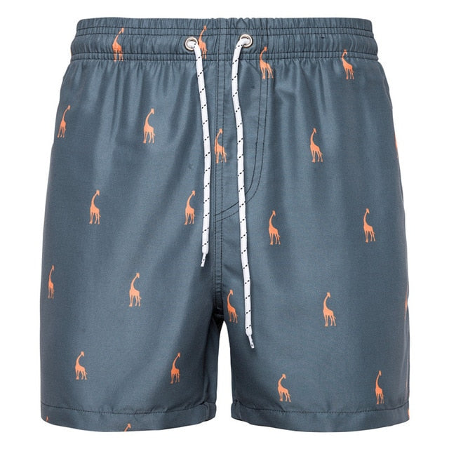 UG Casual Giraffe Print Beach Shorts