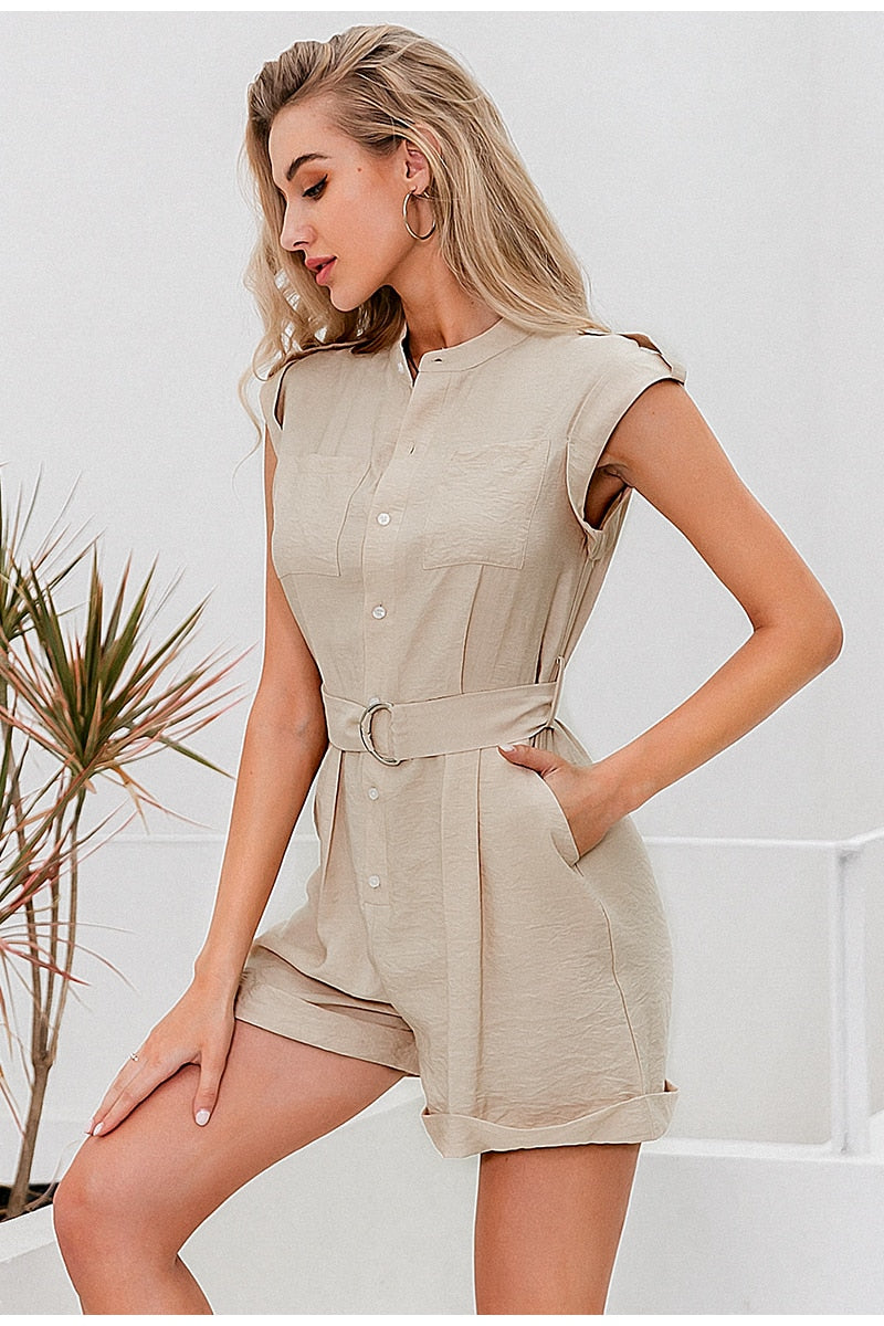 Sleeveless Romper with Sash Belt