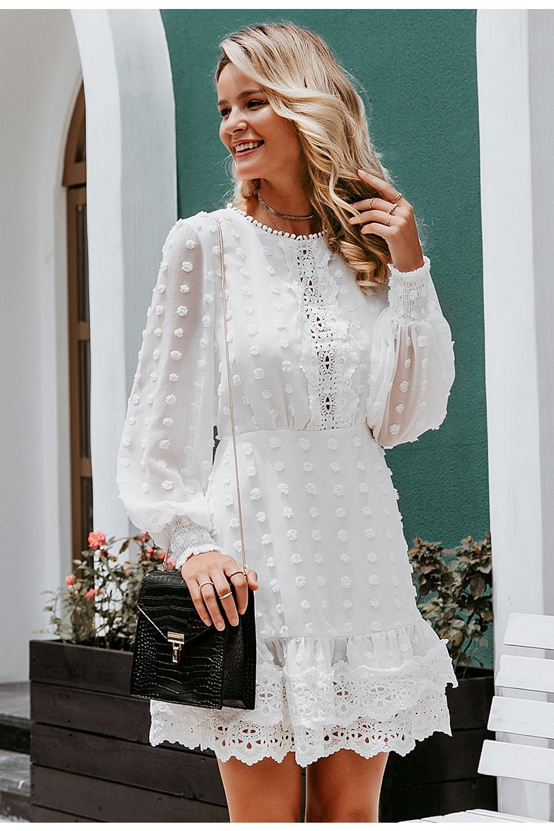 Chiffon Lace with Flare Sleeves Dress