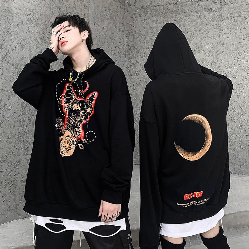 LBSS Oversized Cat & Rose Motif Swag Hoodie