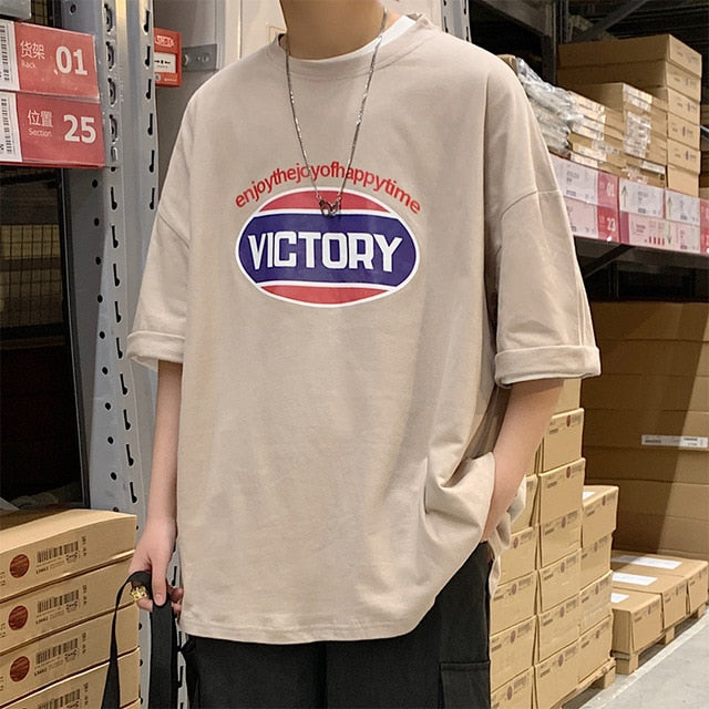 VICTORY Print Oversized Graphic Tee