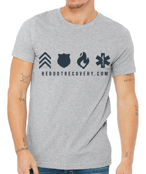 Grey T-shirt Black REBOOT Icons
