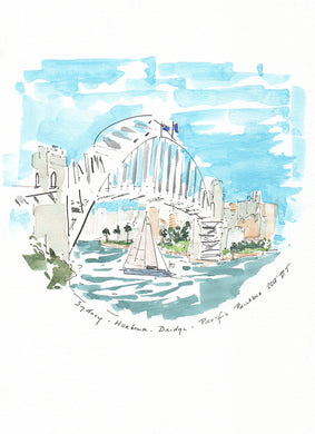 Sydney Harbour Bridge with light breeze yacht
