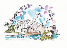 Load image into Gallery viewer, Whimsical Jacaranda blossoms with Sydney Opera House and Bridge