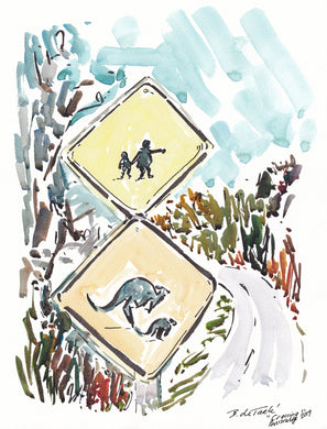 Watch out Kangaroo and Children crossing