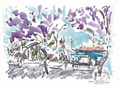 Opera House view through the Jacaranda trees Circular Quay Sydney