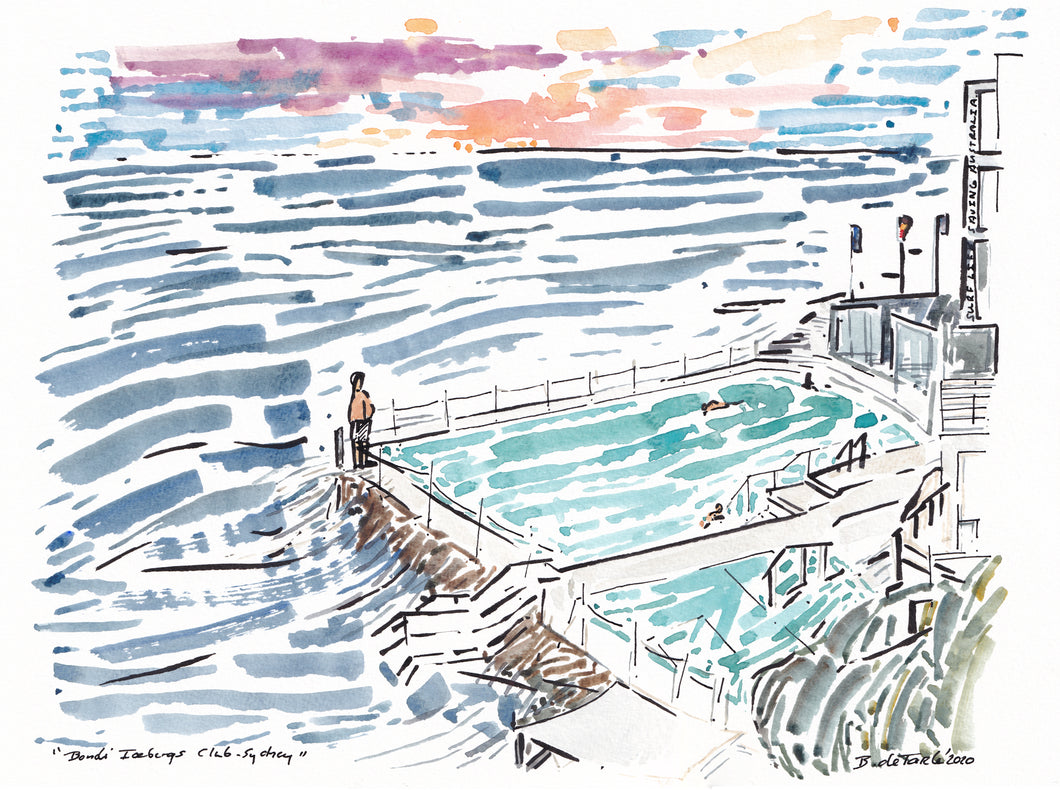 Morning sunrise over Bondi Icebergs Pool Sydney