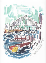 Load image into Gallery viewer, Red and yellow row boats in Lavender Bay Sydney