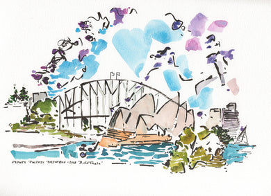 Whimsical Jacaranda blossoms with Sydney Opera House and Bridge