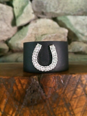 Black Leather Cuff Bracelet w/ Horseshoe Brooch