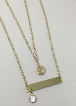 Gold Layered Kentucky Bar & Fleur de Lis Necklace