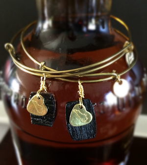 Kentucky Bourbon Barrel Bracelet w/ Gold Heart State Charm