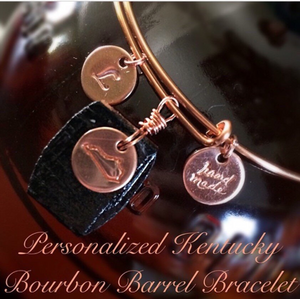 Kentucky Bourbon Barrel Bracelet with Personalized Copper Coin Charm