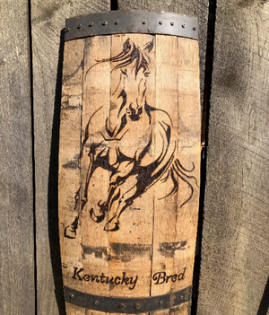 Wood Burned Bourbon Barrel Thoroughbred Wall Decor